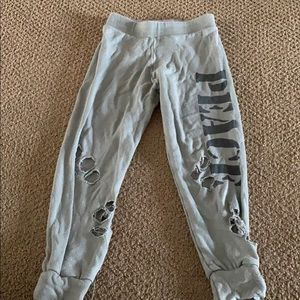 Flowers by Zoe Girls Grey Ripped Peace Sweatpants